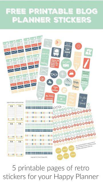 Free Printable Stickers for your Blog Planner (Va-Voom Vintage)