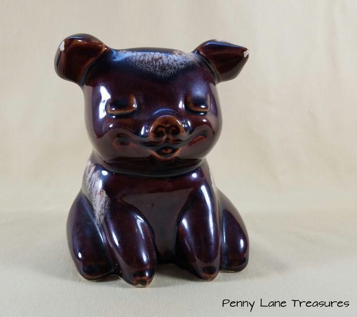 Vintage Hull Pig ~ Piggy Bank ~ Brown Drip Ceramics ~ 1960's ~ Sitting Pig ~ Coin Bank ~ Money Bank ~ Rustic Charm ~ Penny Lane Treasures by PennyLaneTreasures on Etsy