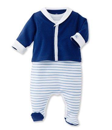 セーラージャケット&ブルーボーダーアンサンブル(12ヶ月 74cm (12mois) ペールブルー/ホワイト): 新生児 [PETIT BATEAU プチバトーオンラインブティック]