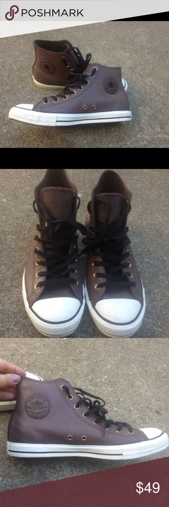 Men's Converse All Star Leather  Sneakers Size 10 Men's Converse All Star Vintage Leather  Sneakers Size 10 These are leather, nice shade of brown. Worn once,look new! Converse Shoes Athletic Shoes