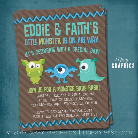 Monster Baby Bash Shower or Birthday Invitation  by MTipsy on Etsy, $16.00