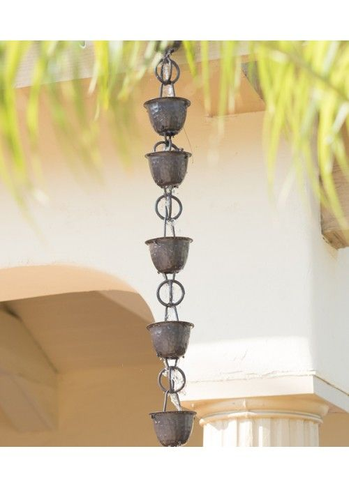 Monarch Aluminum Hammered Cup and Ring Rain chain in Musket Brown. The dark brown shade looks wonderful with craftsman style homes in warm and natural tones.