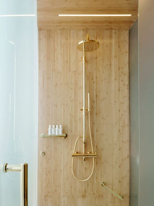 I've tried to find the original image and failed, but I love this wood shower. Could do this with plywood and epoxy.
