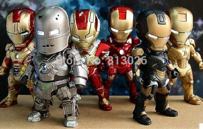 Iron Man Action Figure Mini Egg Attack light 6pcs/set Action Figures PVC brinquedos Collection Figures toys for christmas gift
