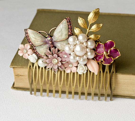 What a unique and beautiful collage comb, made with real vintage jewelry, vintage finds and vintage inspired pieces