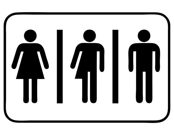 Vinyl Sticker Decal  Gender Neutral Bathroom Sign Sticker