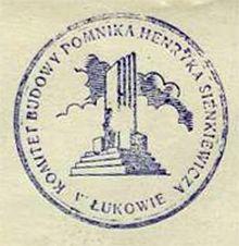 Pieczęć Komitetu Budowy Pomnika Henryka Sienkiewicza w Łukowie.