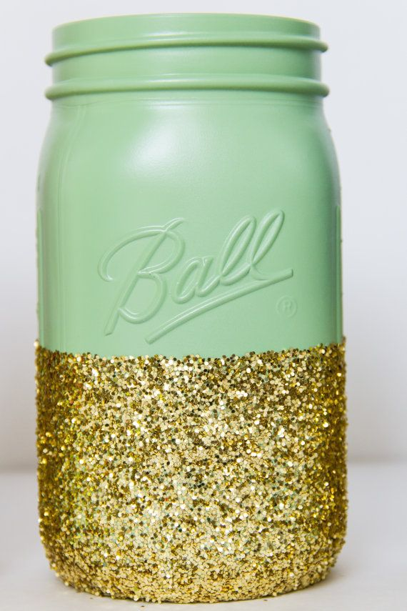 Very limited stock Mint and Gold Glitter by CharminglyKristin