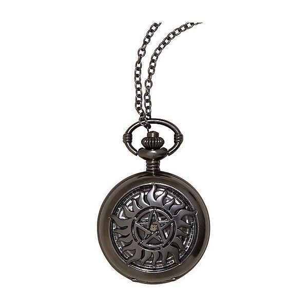 Supernatural Anti-Possession Pocket Watch Necklace ($20) ❤ liked on Polyvore featuring jewelry, necklaces, chain pendants, hematite pendant, chain necklace, chain pocket watch and hematite jewelry