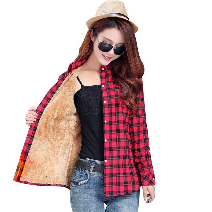 17 warm winter coat female thick velvet shirt plaid long-sleeved shirt comfortable winter fashion cotton shirt women color