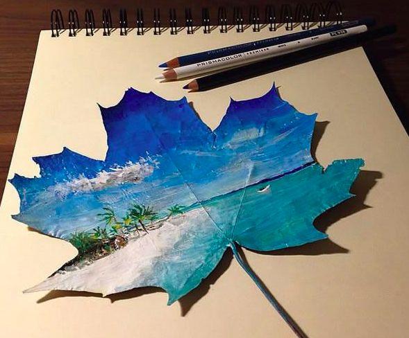 Verblüffende Kunstwerke auf Blättern