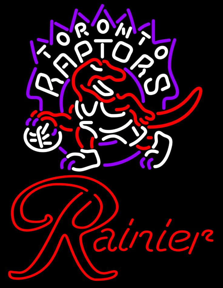 Rainier Toronto Raptors NBA Neon Beer Sign, Rainier with NBA | Beer with Sports Signs. Makes a great gift. High impact, eye catching, real glass tube neon sign. In stock. Ships in 5 days or less. Brand New Indoor Neon Sign. Neon Tube thickness is 9MM. All Neon Signs have 1 year warranty and 0% breakage guarantee.