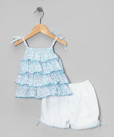 Take a look at this White & Blue Floral Tiered Top & Bloomers - Infant & Toddler by La Fleur & Le Papillon on #zulily today!