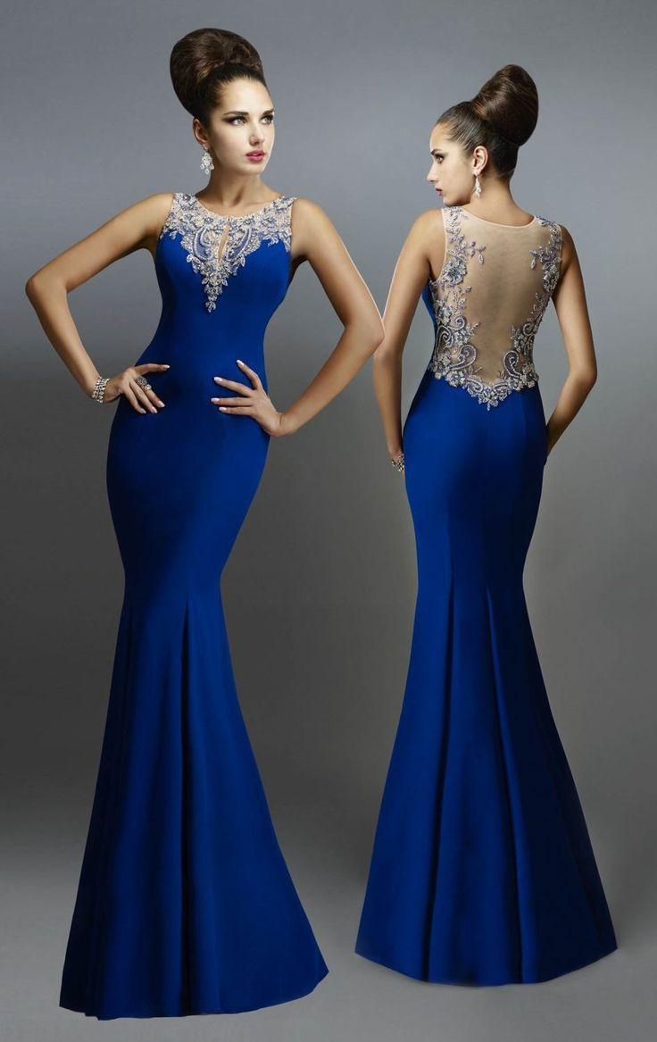 Azul real de la sirena vestido de noche 2015 Crew Beaded pivote del banquete de boda Backless invitado vestido de noche(China (Mainland))