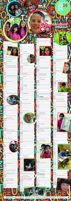 Schoolkalender voor Totaalschool De Vuurvlinder uit Den Haag  2014 - 2015