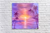 Spring, seascape, sunset, purple, lavender, mauve, fine art, oil painting, decor items, acrylic print, for sale
