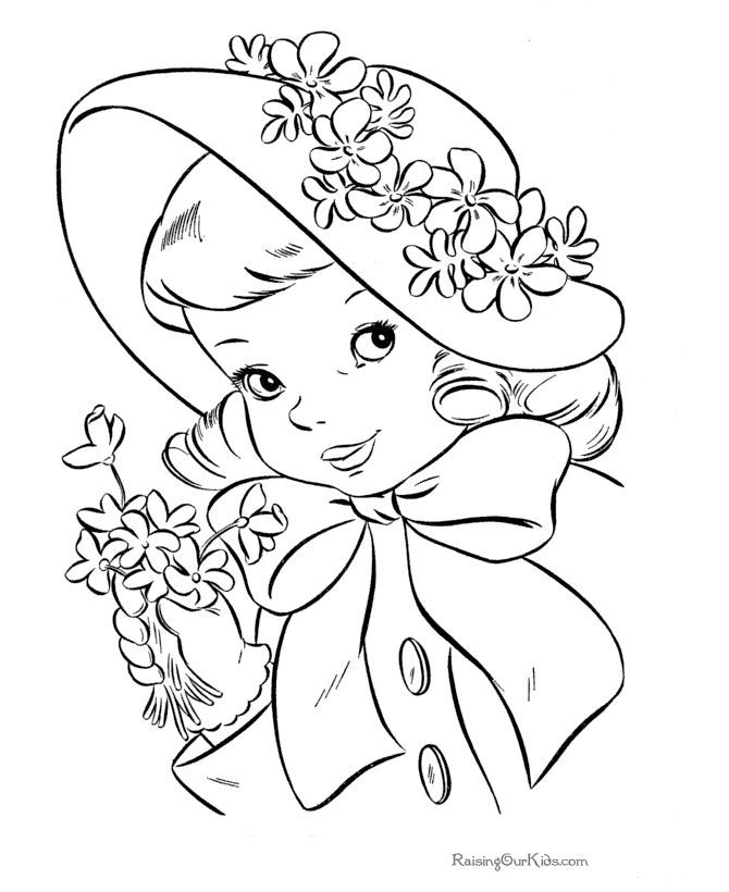 Kid Coloring Page Of Easter Hat