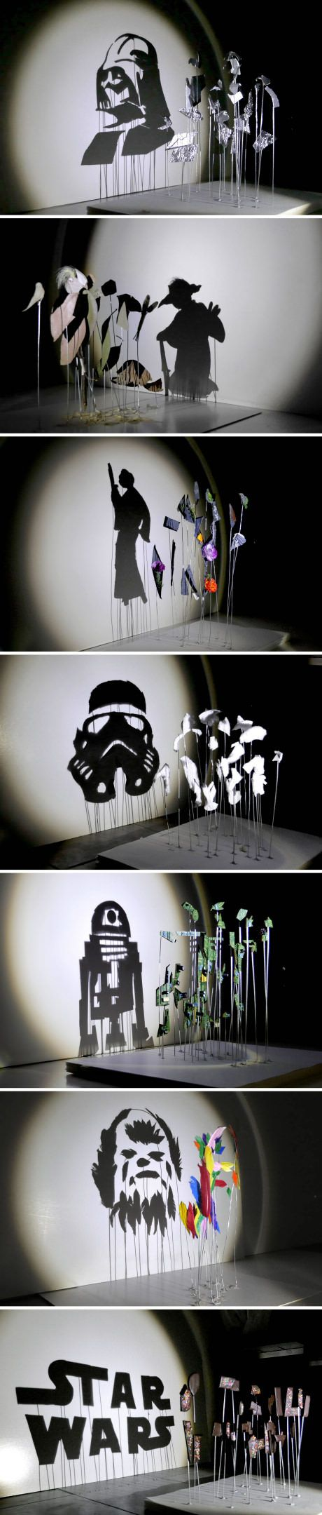 From architect and artist Red Hong Yi, observe these seven anamorphic Star Wars silhouettes, shadow art experiments created by shining a beam of light from a specific position onto different shapes arranged on wires.