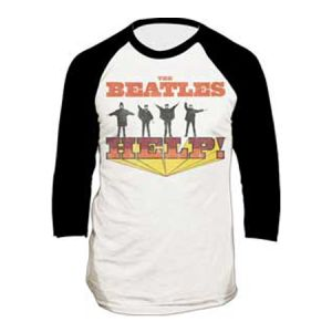 The Beatles Help Raglan T-Shirt - Need some help finding the perfect Beatles T-Shirt? This raglan style T-Shirt features a vintage Help print for the fan that's looking for not just any T-Shirt.
