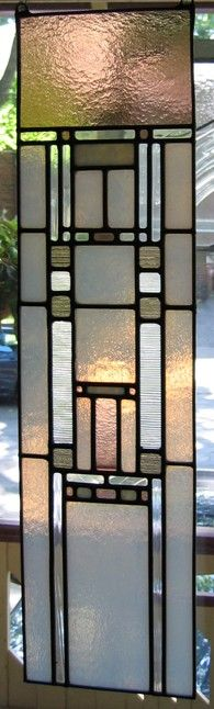 glowing, art glass, Arts and Crafts Style tall glass panel.