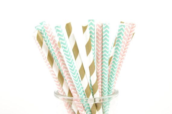Gold, Pink and Mint Green Chevron Paper Straws - Set of 25 Straws - Girl's Birthday Party - First Birthday.  Available at www.duryeaplace.com