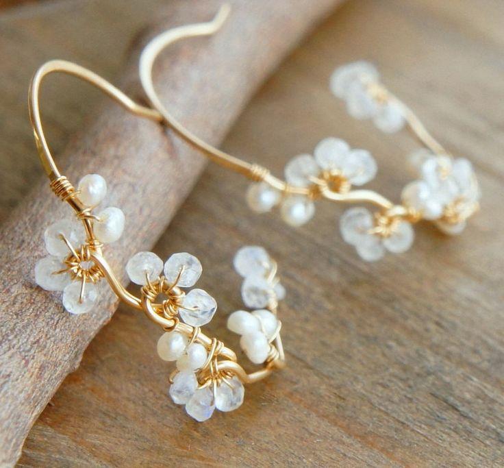 Moonstone Earrings Pearl White Flower