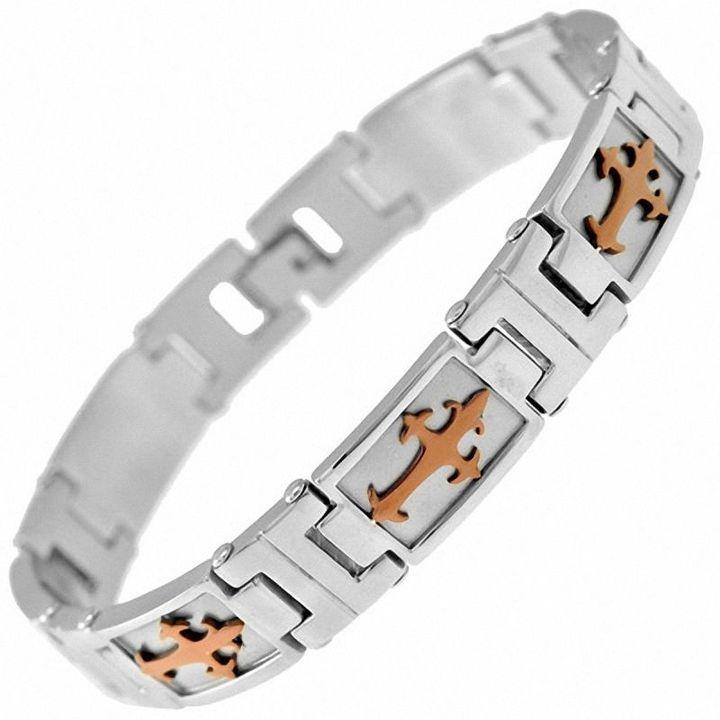"""Zales Men's Cross Bracelet in Two-Tone Stainless Steel - 8.5"""""""