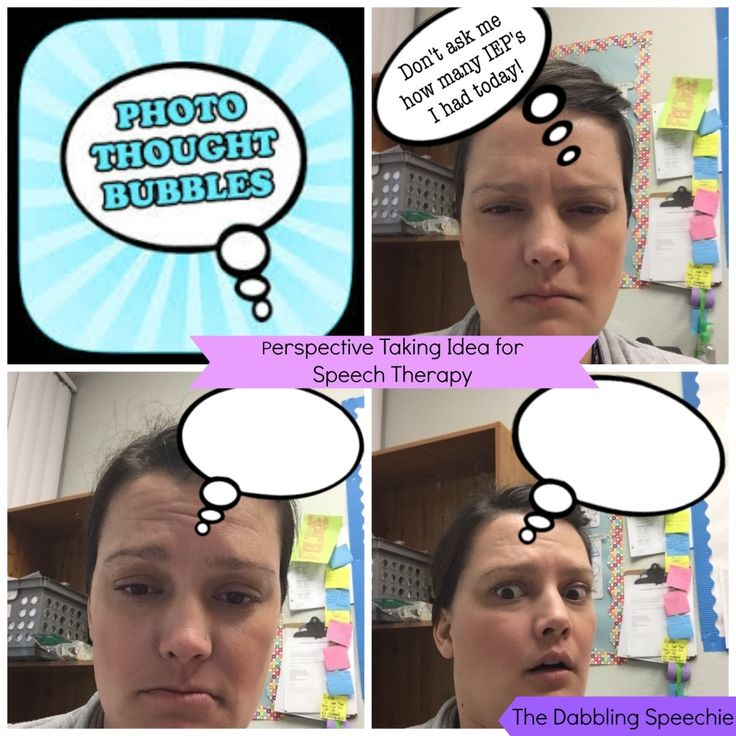 photo thought bubble app to work on perspective taking in social skill therapy. #speechtherapy #socialskills