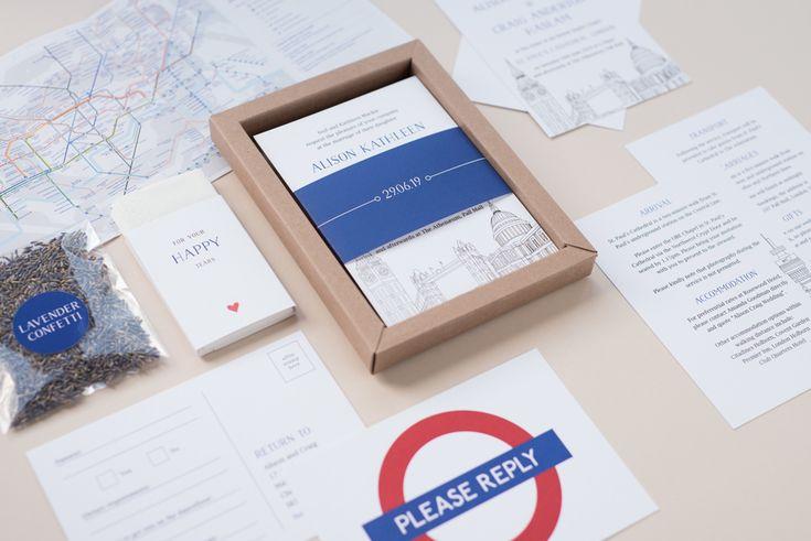 Wedding Invitation Boxes - London Themed Wedding Stationery, UK