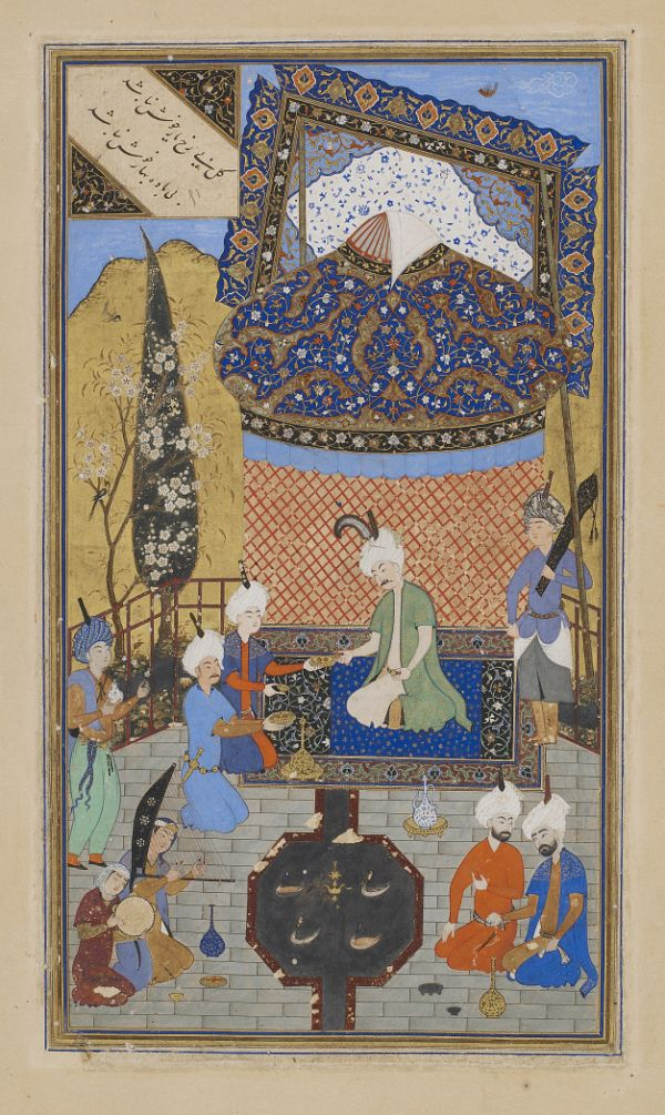 Folio from a Divan (collected poems) by Hafiz (d. 1390); recto: text: Poem of the contentment of heart and soul; verso: illustration and text, Prince entertained on a terrace  TYPE Detached Manuscript folio MAKER(S) Calligrapher: Sultan Muhammad Nur Artist: Shaykhzade HISTORICAL PERIOD(S) Safavid period, 1523-24 (930 A.H.) MEDIUM Opaque watercolor, ink, and gold on paper DIMENSION(S) H x W: 30 x 18.8 cm (11 13/16 x 7 3/8 in) GEOGRAPHY Afghanistan, Herat