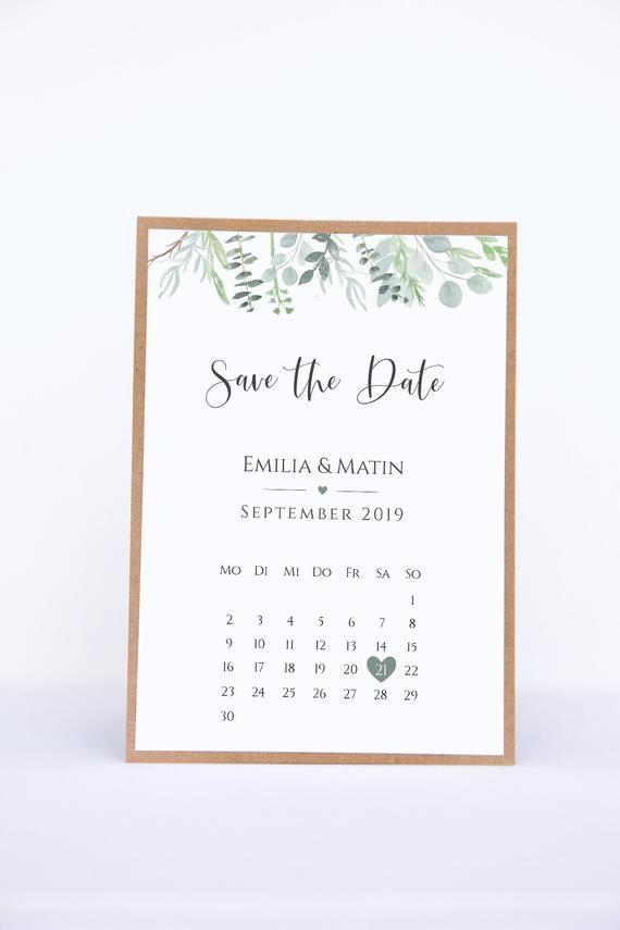 Save the Date Karten mit Kalenderblatt – Eucalyptus Love