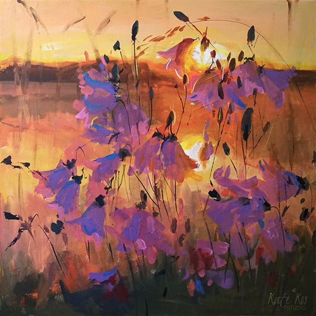 Guys I'm running naming #competition on my website and love some of the titles that people came up with so far. Few examples: Riverside Dreams, Sunrise Symphony, Dancing Bells, The Audience❤️How good is that??? What do you think guys?  #competition #acrylicpainting #harebells #bells #campanula #sunset #sunrise #painting #carveouttimeforart  #contemporaryart #cylcollective #artstudio #artforsale #flashesofdelight