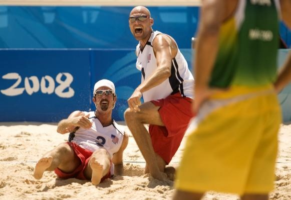 Beach Volleyball - Phillip Dalhausser and Todd Rogers celebrate Olympic gold Medal win at the 2008 Beijing Summer Olympics