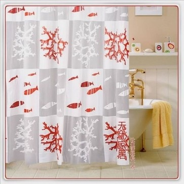 Red Coral Reef Fish Shower Curtain mediterranean shower curtains