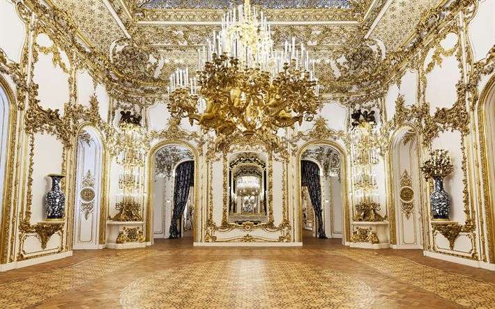 Download wallpapers Rococo interior, Luxurious interior, classic style of interior, ideas in style Rococo