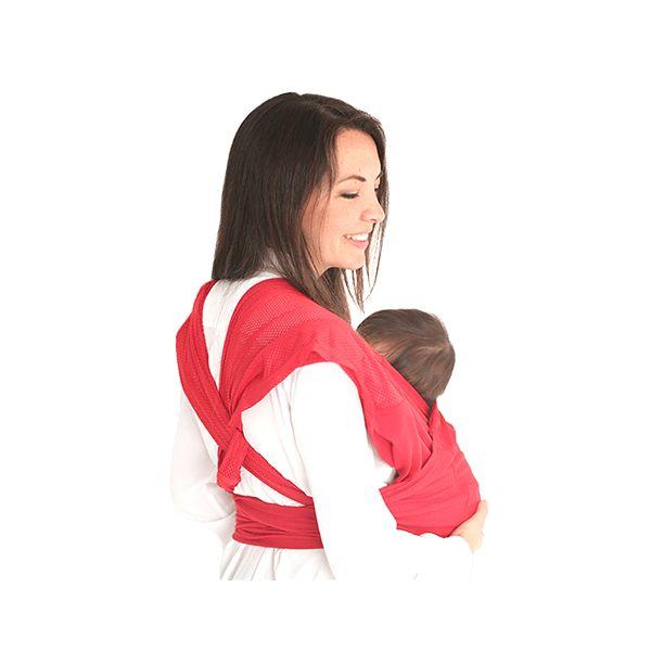Fast Fular Rojo. Es la versión rápida del fular, sin necesidad de hacer nudos ni tela sobrando. Práctico y fácil de poner, son dos aros de tela unidos que se apoyan en ambos hombros resultando muy cómodo para el cargador. El bebé mantiene su posición anatómica de ranita desde sus primeros días de nacido y puede ser usado hasta los 18 meses o más. Es fresco y cómodo, puede ser usado en todos los climas, en paseos largos y cortos.