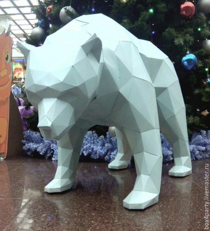 """Купить Фигура из картона """"Медведь"""" - разноцветный, белый медведь, картон, фигура из картона, оформление витрин"""