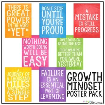 """This Growth Mindset Poster Bundle includes seven (7) 8.5 X 11 PDFs (just print and go!) and seven (7) high resolution jpegs, designed at 8.5"""" X 11"""" (300 dpi). Print these on your home computer or have printed as posters at your local office supply store or print shop (I had them printed at 11 X 14 for my classroom)."""