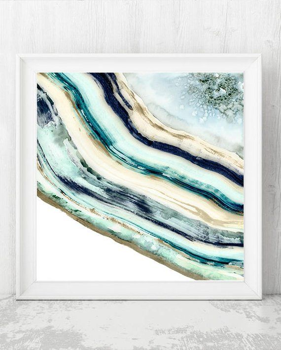 Agate Print Watercolor Agate Painting Agate Wall Art Geode Etsy Abstract Art Painting Techniques Abstract Art Painting Minerals Art