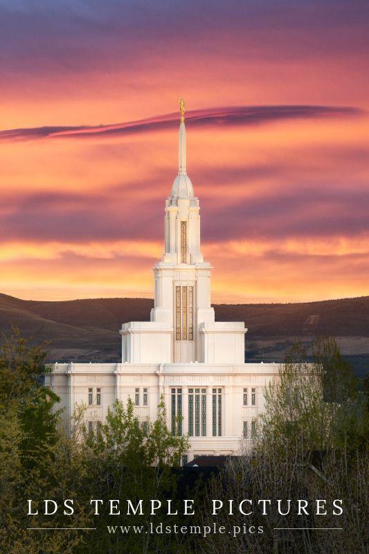 Payson Temple Sunset   LDS Temple Pictures
