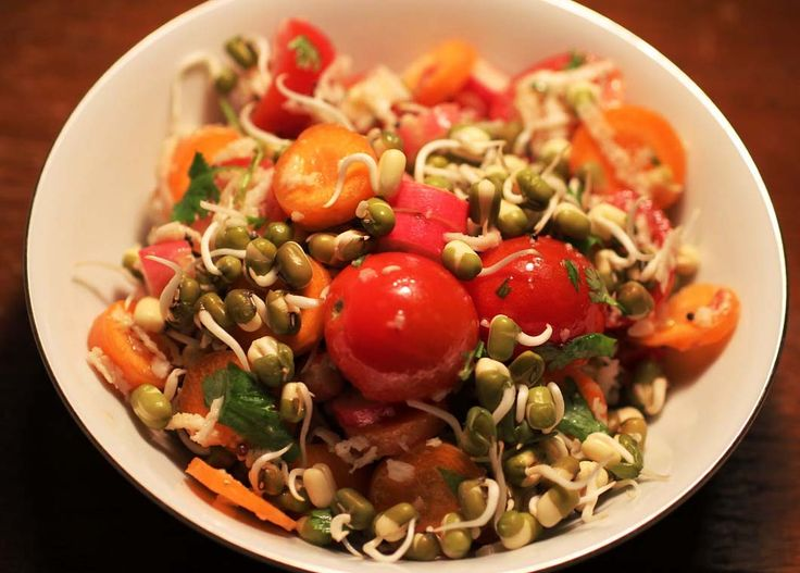 Green gram salad is very good in controlling sugar levels and for the people who are willing to reduce their weight. Mung Bean Salad helps in reducing body cholesterol