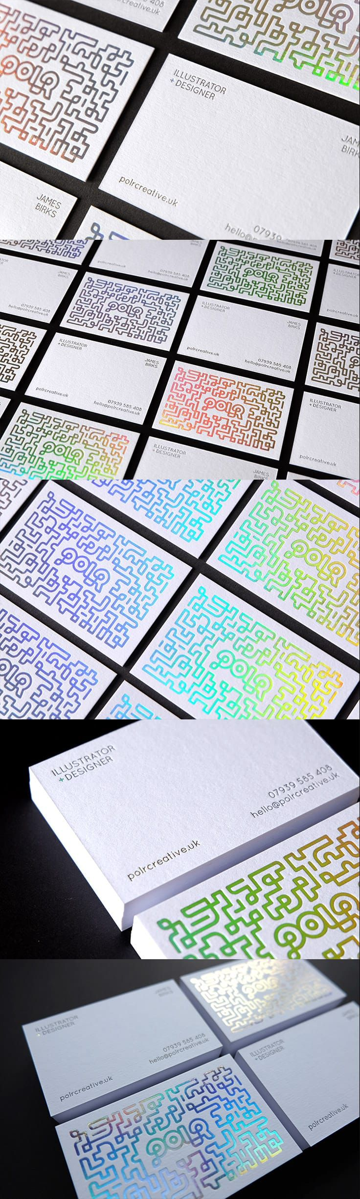 Holographic foiled & letterpress business cards. 540gsm Pristine White Colorplan card.