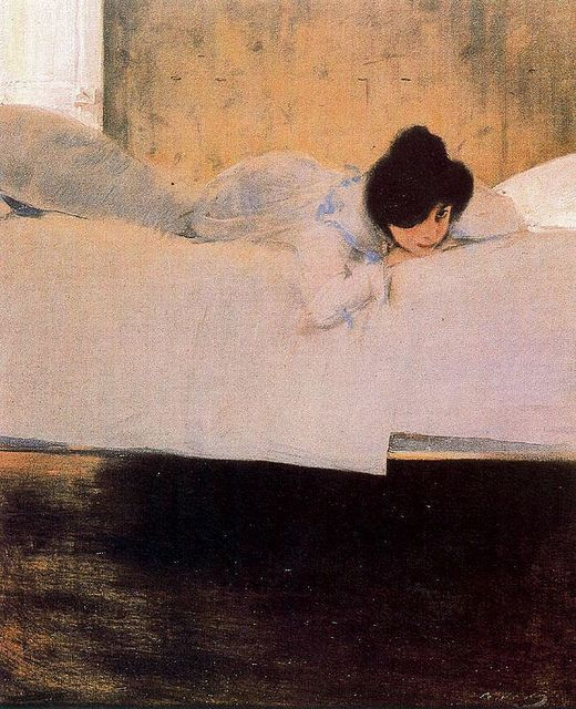 The Laziness - s.d.  by Ramon Casas Carbo (Spanish, 1866-1932)Inspiration Artworks, Carbo Spanish, Casa Carbo, House Blue-Clear, Carbó, Ramones Casa, Lazy, La Paresse, Ramón Casa
