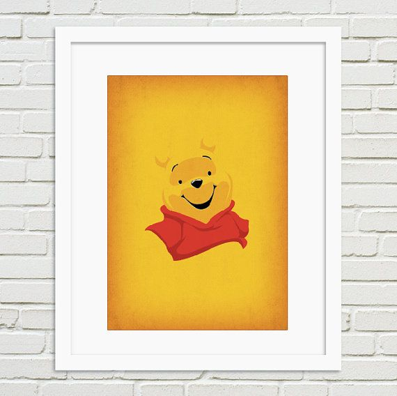 Winnie the Pooh Minimalist Artwork Print - Winnie the Pooh - Vintage Retro Style Poster Print Collection, Home wall Nursery art pinned from https://www.etsy.com/shop/TheRetroInc