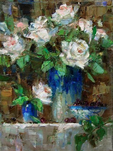 """""""Birthday Roses """" - Original Fine Art for Sale - © Julie Ford Oliver"""