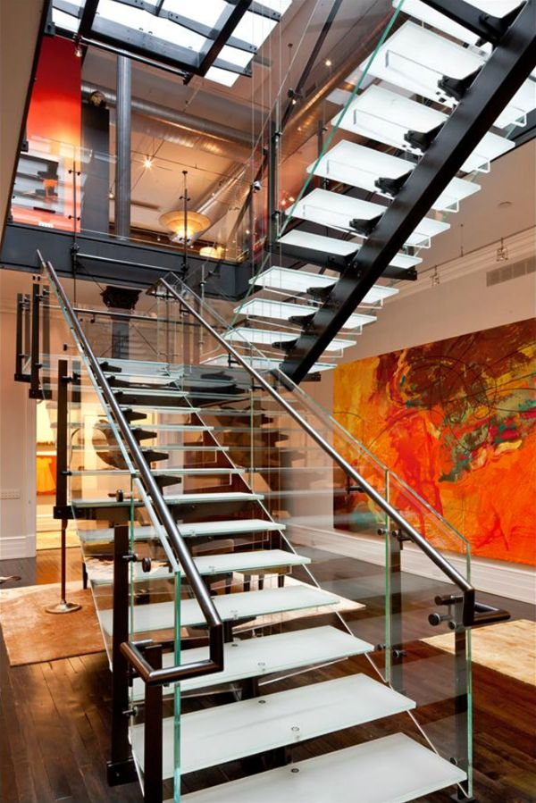 love the stairway: Stairca Design, Loft Style, Architecture Embellishments, Interiors Design, Dreams House, Industrial Style, Glasses Stairs, Tribeca Loft, Modern Stairs