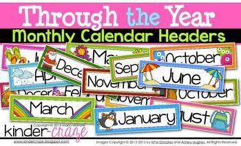 Through the Year Calendar Headers