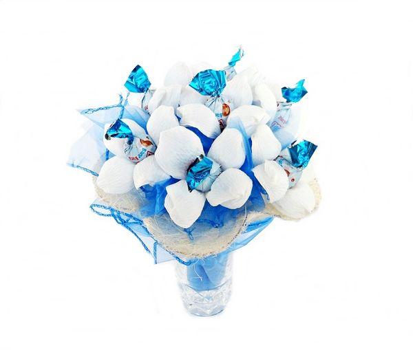 Bukiet z cukierków Biało - Niebieski
