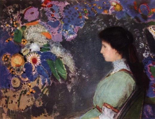 <오딜롱 르동 '비올레트 에만의 초상'>  1910년 작품으로 클리블랜드 미술관에 있는 작품이다.