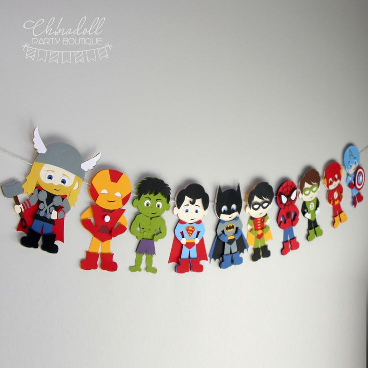 superheroes bunting carefully handcrafted from cutting and layering quality textured cardstock, each superhero is assembled with tender love and care, and bucket loads of patience! each colour is a different piece of coloured cardstock (not printed). thor ironman hulk superman batman robin spiderman green lantern flash captain america